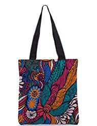 Snoogg Vector Seamless Texture With Abstract Flowers Endless Background Ethnic Sea Designer Poly Canvas Tote Bag - B012FZUS9A
