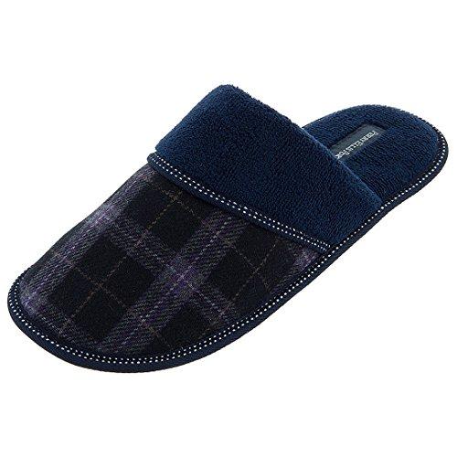 perry-ellis-portfolio-mens-black-plaid-navy-slippers-l-95-105
