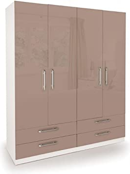 Camden 4 Door Wardrobe With 4 Drawers White Mocha | Bedroom Furniture
