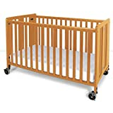 Foundations Hideaway Full Sized Folding Crib, Natural