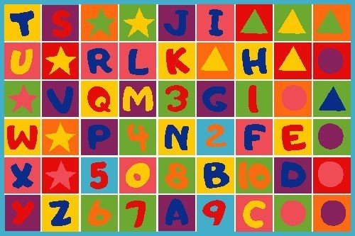 "Kids Rug Numbers and Letters Area Rug 39"" x 58"" + Free Shipping - 1"