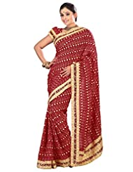 Designer Admirable Maroon Colored Embroidered Faux Georgette Saree By Triveni