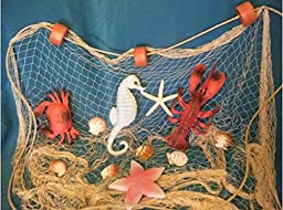 6 X 8 Ft TAN Fish NET with White Starfish, Scollap Shells, Floats, Lobster, Crab, Starfish and Seahorse
