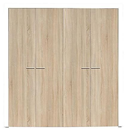 4 Door Wardrobe 'Balen' 03, Sonoma oak / Glossy white - W206 x H215 x D65 cm
