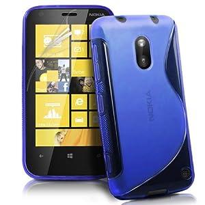 Silikonhülle Handyschale Gel Case Hülle Tasche für das Nokia Lumia 620 inkl. Displayfolie S-Line Blau