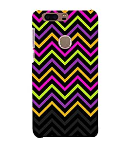 Disco Chevron Lines 3D Hard Polycarbonate Designer Back Case Cover for Huawei Honor 8