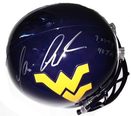 tavon-austin-signed-autographed-west-virginia-mountaineers-full-size-helmet-with-career-stats-autogr