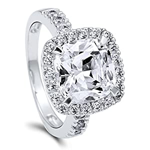 BERRICLE Sterling Silver Cushion Cut Cubic Zirconia CZ Halo Womens Fashion Right Hand Cocktail Ring from BERRICLE