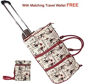 Signare Canvastapestry Wheeled Holdall Cabin Flight Bag Hand Luggage In The Design Of Coffee Tea Or Me With Free Matching Travel Wallet