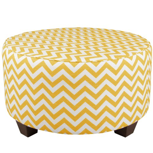 Skyline Furniture Round Cocktail Ottoman, Zig Zag Yellow Slub