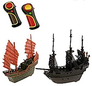 Pirates of the Caribbean At World's End Remote Control Mini Battle Pirate Ships - Chinese Junk and Black Pearl Plus Jack Sparrow and Sao Feng Mini Figures