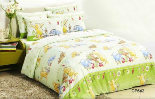 Disney Classic Winnie The Pooh Cp642 Fitted Bed Sheet, Pillow Case & Duvet Cover (330 Threads / 10Cm Squared) 100% Cotton front-207565