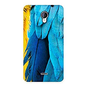 Delighted Blue Feathur Back Case Cover for Micromax Unite 2 A106