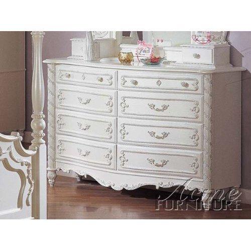 Storage Dresser with Bun Legs White Finish