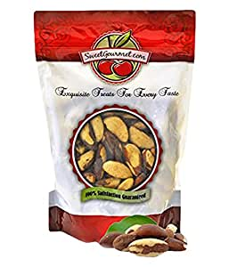 Sweetgourmet Raw Brazil Nuts Whole, Shelled, Unsalted, Naturally, 1 lb