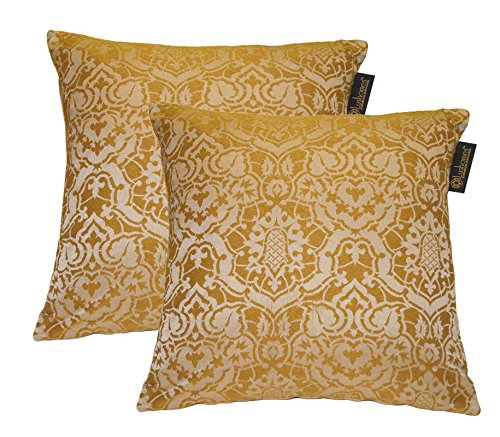 Lushomes Gold Polyester Jacquard Cushion Covers Pack of 2