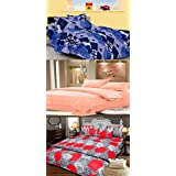JBG Home Store Cotton Double Bedsheet With Pillow Covers (Pack Of 3)-Multi-Colour