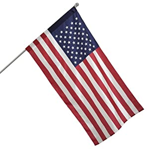 Valley Forge Flag All American Series 2.5-Feet by 4-Feet Nylon US Flag Kit with 5-Foot Aluminum Pole and Bracket