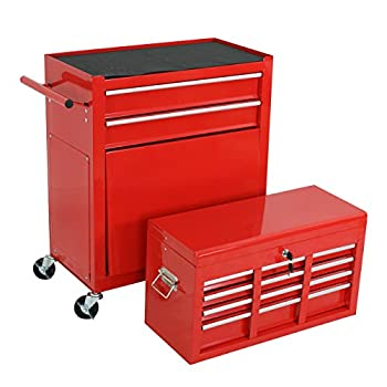 F2C Solid Steel 24-Inch Portable Tool Chest Box Storage Garage Toolbox 6 Drawers Top Chest Removable Rolling Tool Cabinet ,Red