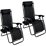 Arksen 2 Pack Zero Gravity Patio Lounge Chairs+Cup Holder Utility Tray (Black)