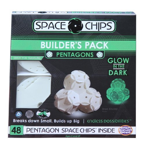 Monkey Business Sports Space Chips Builder Pack Glow In The Dark - Pentagons (48 Pieces)