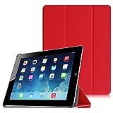 Fintie iPad 2 / 第3世代 iPad / 第4世代 iPad 専用 保護ケース 三つ折スタンドタイプ 高級PUレザー 超薄型 最軽量 オートスリープ機能付き スマートケース カバー (レッド)