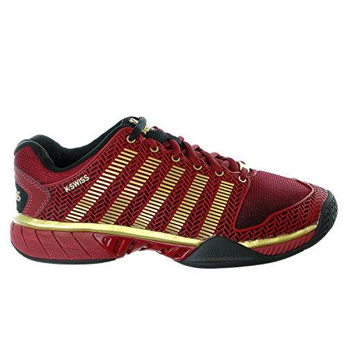 K-Swiss 05066 Men's Hypercourt Express 50TH Shoe, Black/Biking Red/Gold - 10