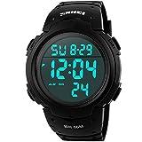 SunJas Wasserdicht Digital Led Alarm Kalender Uhr Sportuhr Herren Armbanduhr