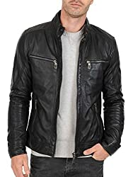Iftekhar Mens Pure leather Jacket - Black - (Iftekhar04 - XXL)