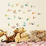 UberLyfe Animals Alphabet Baby Nursery Wall Sticker (Wall Covering Area: 95cm x 135cm)