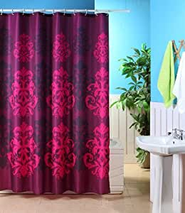 Canyon Jacquard Plum Patterned Polyester Shower Curtain 180 X 180 Cm Home Kitchen