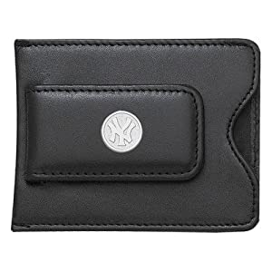 MLB Logo Black Leather Money Clip Credit Card ID Holder by Logo Art