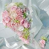 263【プリザーブド】【ウエディングブーケ】【結婚式】キャスケード型 男性用ブトニア付き ベイビーピンク バラ