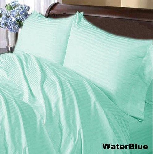 Srplinen 400 Thread Count Soft Egyptian Cotton Stripe 3-Piece Duvet Cover Set (King , Aqua Blue) front-1052989