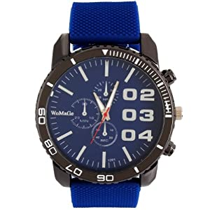 2013newestseller 1pcs Blue Casual Mens Womens 3 Eyes Big Dial Quartz Wrist Watches