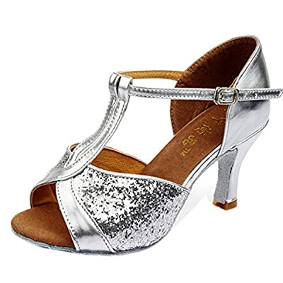 Hot-Selling Brand New Latin Dance Shoes High Heel for Ladies/Girls/Women/Ballroom Tango Shoes 7cm-Silver Paillettes,7