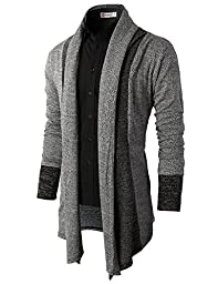 H2H Mens Casual Slim Fit Knit Cardigan with Double Shawl Collar GRAY US M/Asia L (KMOCAL011_KMOCAL012)