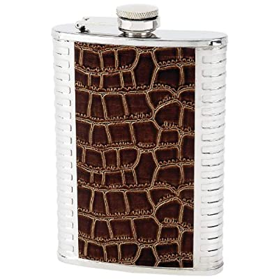 Maxam Brown Faux Leather Wrap Flask