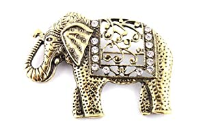 2 Pieces of Ladies Gold Iced Out Good Luck Elephant Brooch & Pin Pendant