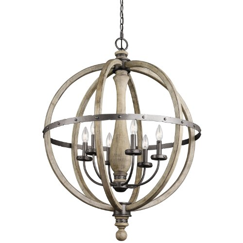 Kichler Lighting 43327Dag Evan 6Lt Chandelier, Anvil Iron And Distressed Antique Gray Wood Finish front-1000669