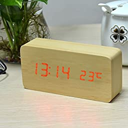 uxcell Wooden Home Desktop Office Rectangle Shape Digital LED Clocks Alarm Clock Time Date Temperature Voice Snooze Control Activated Red