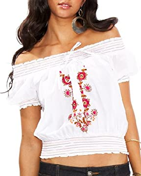 bebe Embroidered Smocked Short Sleeve Top from bebe.com