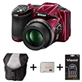 Nikon Coolpix L830 - Red + Case + 32GB Memory Card + 4xAA Battery and Charger (16 MP, 34x Optical Zoom) 3 inch LCD