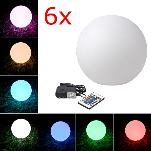 """Loftek® Outdoor/Indoor Rechargeable Led Light, Cordless With Rgb Colorful Changing Remote Control Changing. (Ball 12"""") (6-Pack)"""