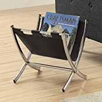 Monarch I 2034 Leather-Look Metal Magazine Rack, Black/Chrome