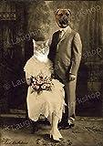 Funny anthropomorphic art, Antique wedding portrait, cat dog vintage photo, whimsical altered photo art, Cat lovers gift, Dog lovers gift, Kitsch Surreal art, Dorm Decor
