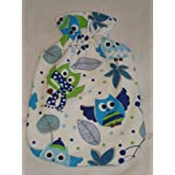 Warm Tradition Blue Owl Cotton Flannel Covered Hot Water Bottle - Bottle Made in Germany, Cover Made in USA