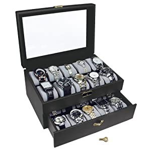 Black Watch Display Case with Key Lock, Clear Glass Top and 20 Watch Holders, + Watch Cleaning Cloth
