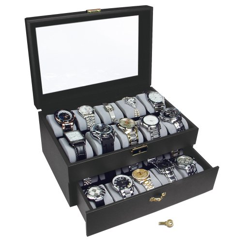 NILECORP Black Watch Display Case with Key Lock, Clear Glass Top and 20 Watch Holders, + Watch Cleaning Cloth