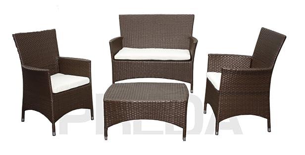 Salotto da giardino Valeria con due poltrone, divano e tavolino